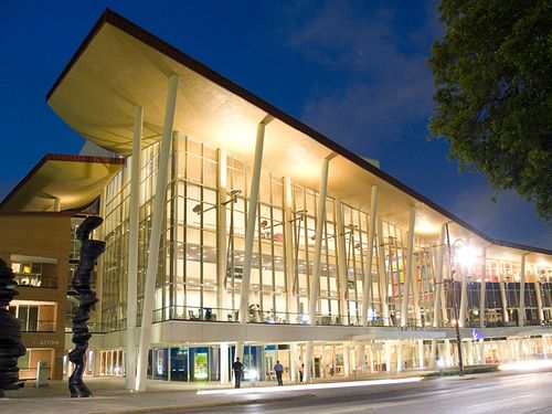 Outside view of the Hobby Center at night