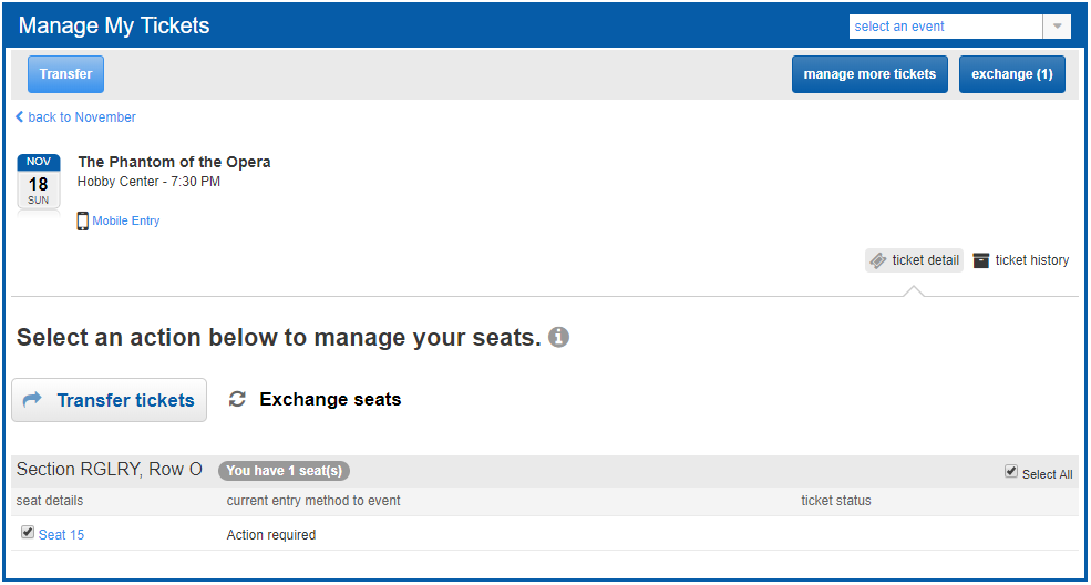 View of the Manage My Tickets portion of the Houston Account Manager