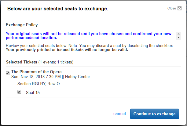 A pop up window from account manager that shows your selected seats