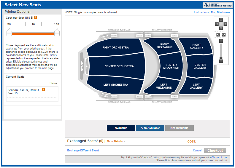 A view of the interactive seating map on account manager