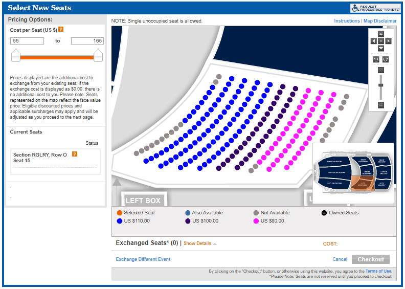 A closer up view of the right mezzanine in the interactive seat map.